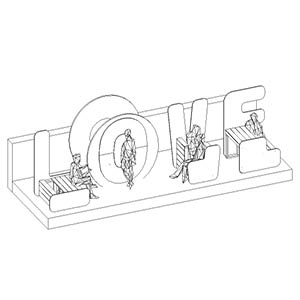 "Rendering of architectural seating in shape of word ""LOVE"""